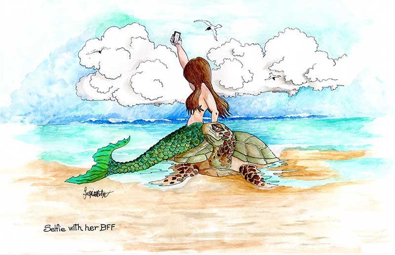 Mermaid taking selfie with turtle