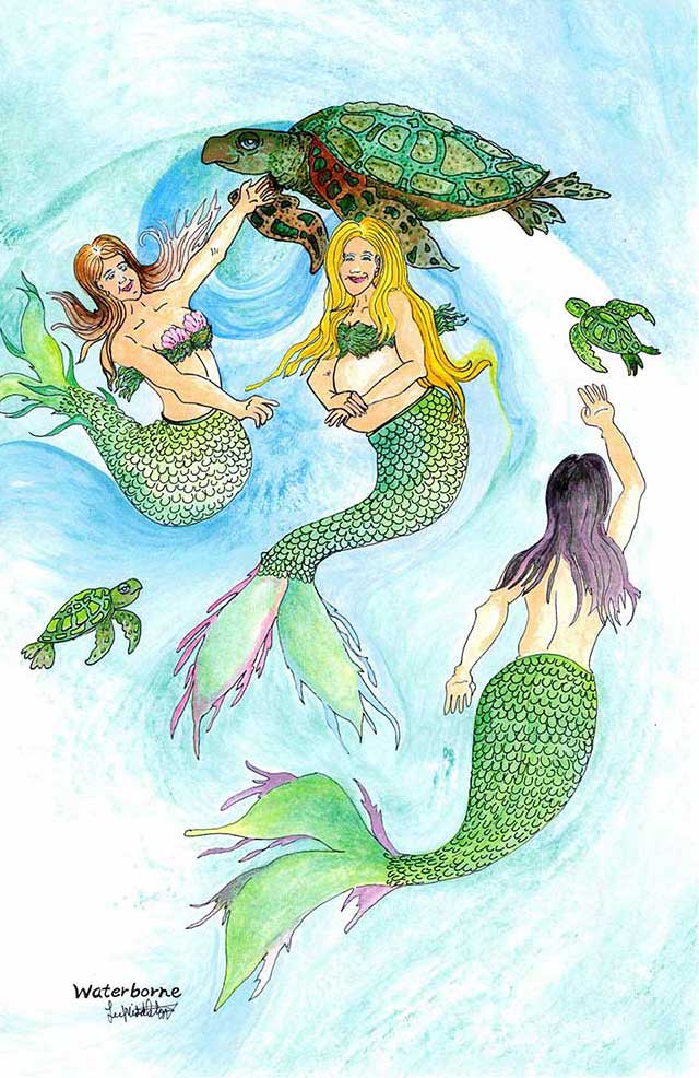 Pregnant mermaids swimming with sea turtles